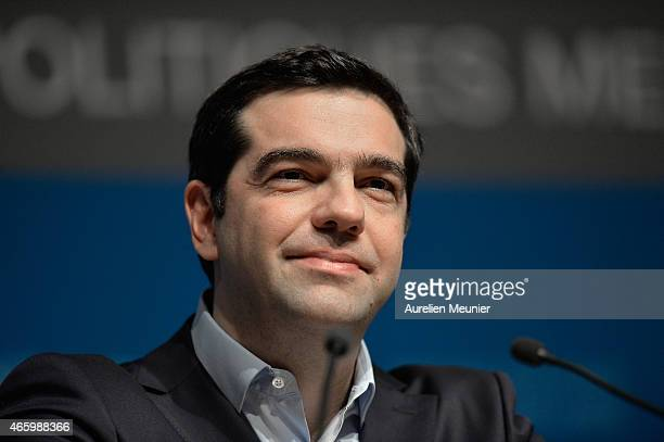 Greek Prime Minister Alexis Tsipras is seen during a meeting with OECD experts in order to discuss Greece's reforms on March 12 2015 in Paris France...