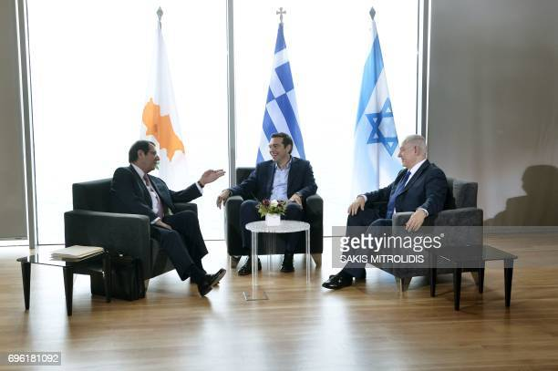 Greek Prime Minister Alexis Tsipras , Israel Prime Minister Benjamin Netanyahu and Cypriot President Nicos Anastasiades meet during the...