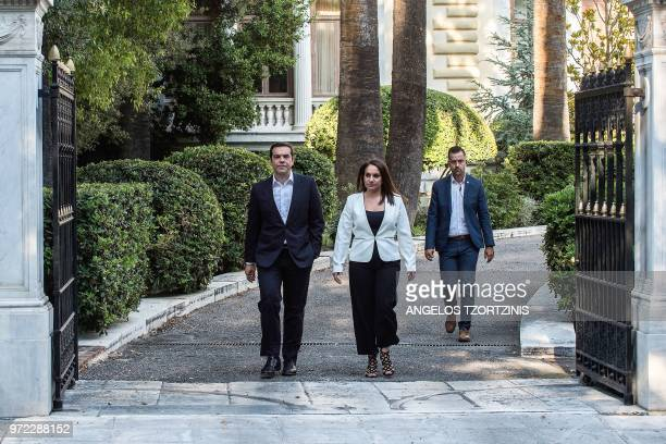 Greek Prime Minister Alexis Tsipras leaves the Presidential Palace after his meeting with Greek President on Macedonia in Athens on June 12 2018...