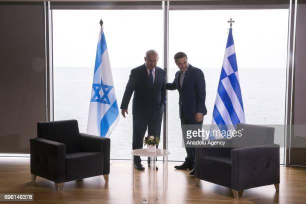 Greek Prime Minister Alexis Tsipras meets Israeli counterpart Benjamin Netanyahu for trilateral summit between Israeli, Greek and Greek Cypriot...