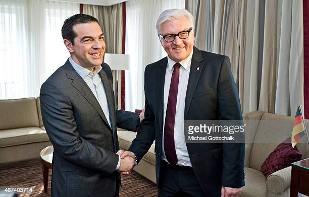 Greek Prime Minister Alexis Tsipras meets with German Foreign Minister FrankWalter Steinmeier in his Berlin Hotel Suite on March 24 2015 in Berlin...