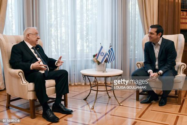 Greek Prime Minister Alexis Tsipras meets with Israeli President Reuven Rivlin in Athens on January 29 2018 Rivlin arrived in Greece for a threeday...