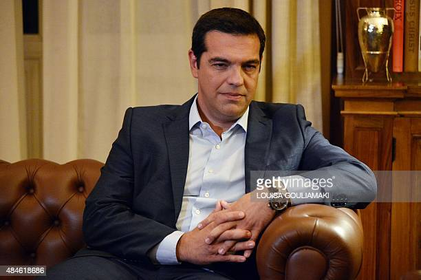 Greek Prime Minister Alexis Tsipras meets with the President of the Greek Republic to announce his resignation at the Presidental Palace in Athens on...