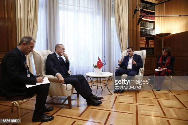 Greek Prime Minister Alexis Tsipras meets with Turkish President Tayyip Erdogan at the Maximos Mansion in Athens on December 7 2017 President Recep...