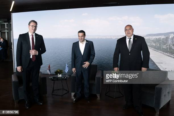 Greek Prime Minister Alexis Tsipras Serbian President Aleksandar Vucic and Bulgarian Prime Minister Boyko Brisov attend a tripartite meeting between...