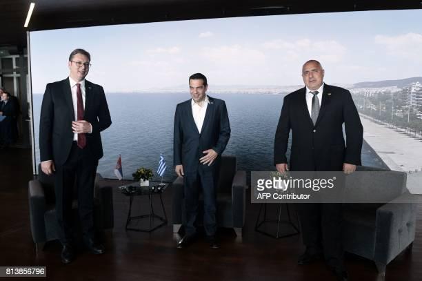 Greek Prime Minister Alexis Tsipras Serbian President Aleksandar Vucic and Bulgarian Prime Minister Boyko Brisov attend a tripartite meeting between...