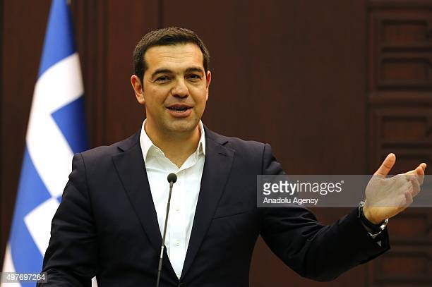Greek Prime Minister Alexis Tsipras speaks during a joint press conference with his Turkish counterpart Ahmet Davutoglu at the Cankaya palace in...