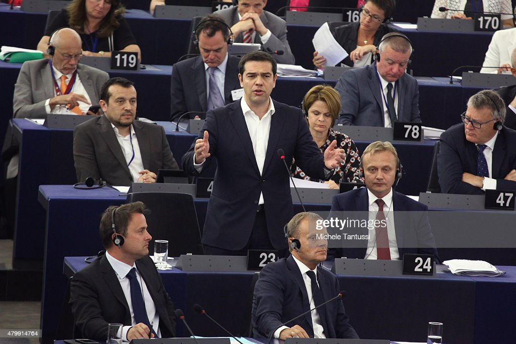 Greek Prime Minister Alexis Tsipras speaks in the plenary hall at the European Parliament on July 8, 2015 in Strasbourg, France. Eurozone member nations have given Greece until Thursday to come up with new proposals to bring the country out of its debt crisis and qualify for further assistance from international creditors. Analysts say that should this final effort fail a departure of Greece from the Eurozone will be inevitable.