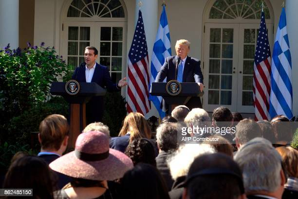 Greek Prime Minister Alexis Tsipras talks during a joint press conference with US President Donald Trump in the Rose Garden at the White House in...