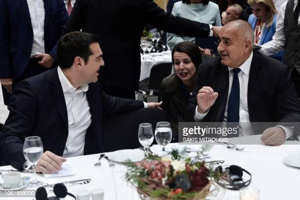 Greek Prime Minister Alexis Tsipras talks with Bulgarian Prime Minister Boyko Borisov during the Thessaloniki Summit 2018 in Thessaloniki on November...