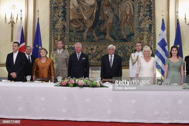 Greek prime minister Alexis Tsipras Vlassia Pavlopoulou Prince Charles Prince of Wales President of Greece Prokopis Pavlopoulos Camilla Duchess of...