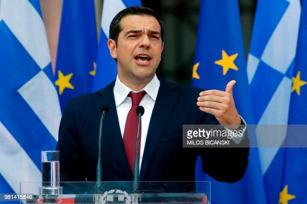 Greek Prime Minister Alexis Tsipras wearing a tie addresses the parliamentary group of leftist Syriza and coalition partner Independent Greeks in...