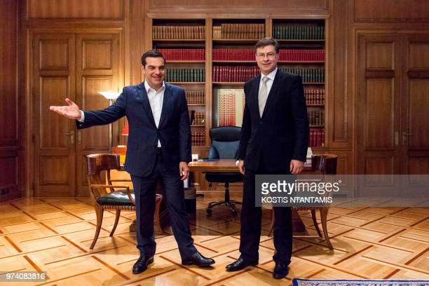 Greek Prime Minister Alexis Tsipras welcomes European Commission Vice President Valdis Dombrovskis in Maximos Mansion in Athens on June 14 2018