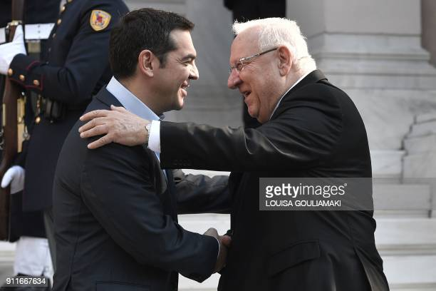 Greek prime minister Alexis Tsipras welcomes Israeli President Reuven Rivlin prior to their talks in Athens on January 29 2018 Israeli President...