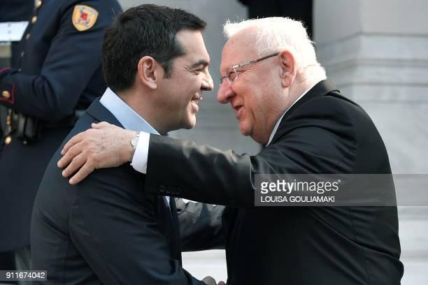 Greek prime minister Alexis Tsipras welcomes Israeli President Reuven Rivlin prior their talks in Athens on January 29 2018 Israeli President arrived...
