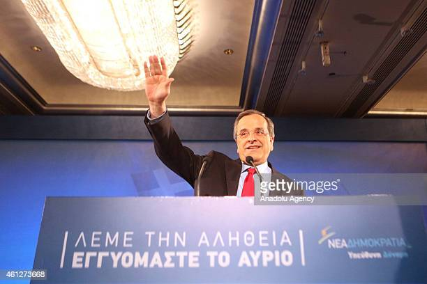 Greek Prime Minister and leader of the Nea Dimokratia party Antonis Samaras delivers a speech within his election campaign for early general...