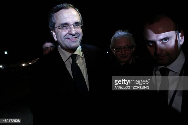Greek prime minister Antonis Samaras arrives to the Zappeion hall to deliver his statement to the press after general elections in Athens on January...