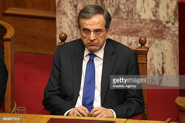 Greek Prime Minister Antonis Samaras attends the first round of a threestage presidential election at the Greek parliament in Athens Greece on...
