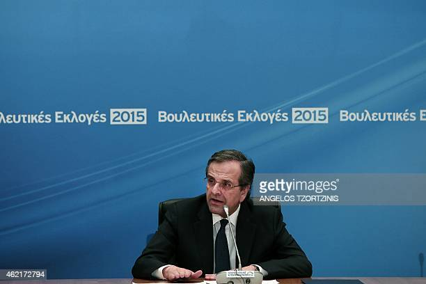 Greek prime minister Antonis Samaras delivers his statement to the press the Zappeion hall after general elections in Athens on January 25 2015 The...