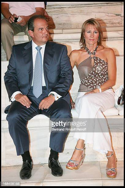 Greek Prime Minister Costas Caramanlis and his wife at Nana Mouskouri's Farewell Concert At Odeon Herodes Atticus In Athens