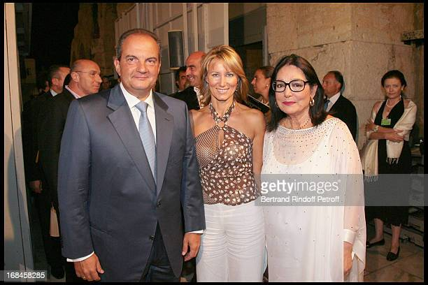 Greek Prime Minister Costas Caramanlis his wife and Nana Mouskouri at Nana Mouskouri's Farewell Concert At Odeon Herodes Atticus In Athens