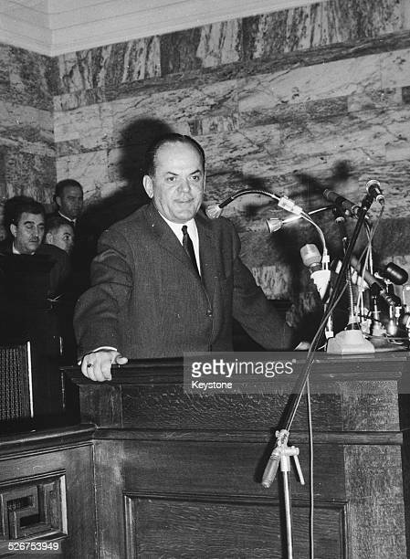 Greek Prime Minister George Papadopoulos giving a speech regarding the new Constitutional plan at a press conference circa 1970