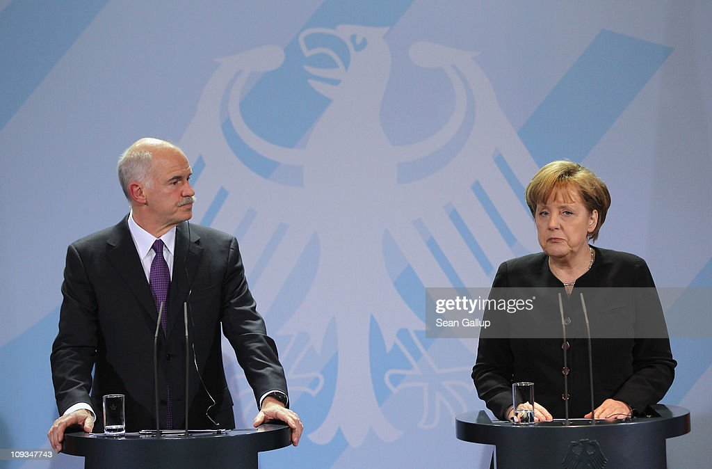 Greek Prime Minister George Papandreou and German Chancellor Angela Merkel speak to the media after talks at the Chancellery on February 22, 2001 in Berlin, Germany. Papandreou is seeking Merkel's support for the repayment period of Greece's 110 billion Euro crisis loan beyond 2016 and a reduction of the 5% interest rate, as well as to discuss details on a proposed set of measures to help Eurozone members in the future who run into financial hardship.