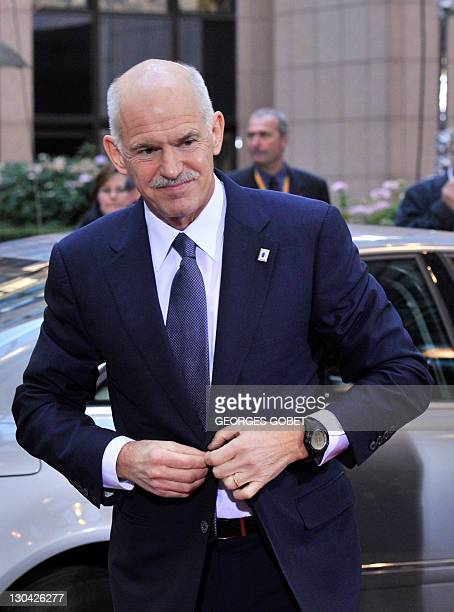 Greek Prime Minister George Papandreou arrives prior to an European Council at the Justus Lipsius building, EU headquarters in Brussels, on October...