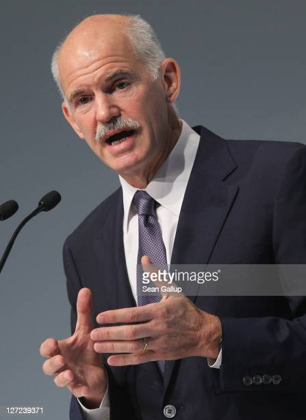 Greek Prime Minister George Papandreou speaks at a convention of the Federation of German Industry to appeal for more German investment in Greece on...