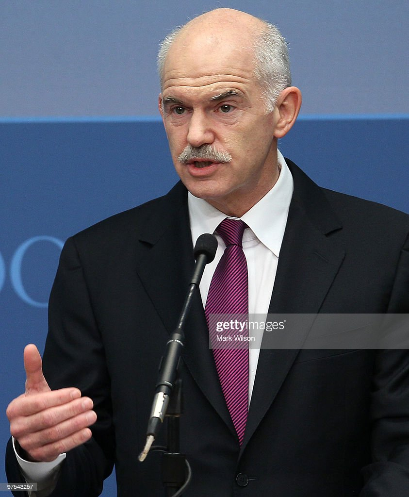 Greek Prime Minister George Papandreou speaks at the Brookings Institution on March 8, 2010 in Washington, DC. Prime Minister Papandreou spoke about relations between Greece and the United States and the current economic situation in Greece.