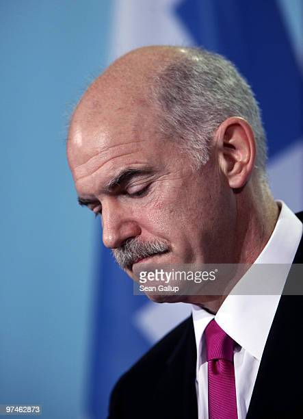 Greek Prime Minister George Papandreou speaks to the media following talks with German Chancellor Angela Merkel at the Chancellery on March 5 2010 in...