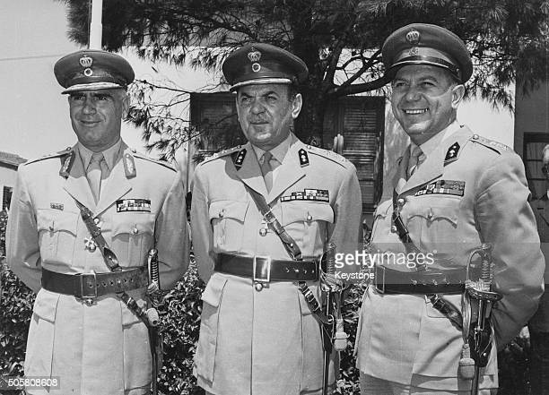 Greek Prime Minister Georgios Papadopoulos with his deputies Brigadier Stylianos Pattakos and Colonel Nicholas Makarezos pictured together in uniform...