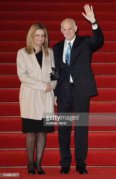 Greek Prime Minister Giorgos Papandreou and his wife Ada arrive at the Quadriga awards at the Konzerthaus on Gendarmenmarkt on October 3 2010 in...