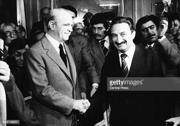 Greek Prime Minister Konstantinos Karamanlis shaking hands with his Turkish counterpart Bulent Ecevit at a meeting in Switzerland March 13th 1978