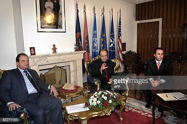 Greek Prime Minister Kostas Karamanlis meets with Kosovo's President Ibrahim Rugova and Kosovo's Prime Minister Ramush Haradinaj in Kosovo's capital...