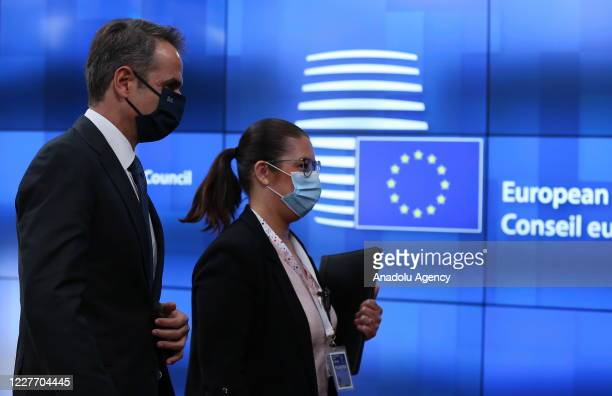 Greek Prime Minister Kyriakos Mitsotakis attends the fourth day of an EU summit in Brussels Belgium on July 20 as the leaders of the EU member states...
