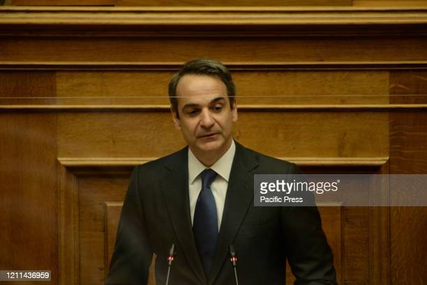 Greek Prime Minister Kyriakos Mitsotakis, during his speech in the session of Hellenic Parliament. A discussion of political leaders took place today...