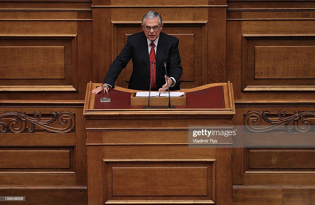 New Greek Prime Minister Lucas Papademos Faces Parliamentary Confidence Vote : News Photo