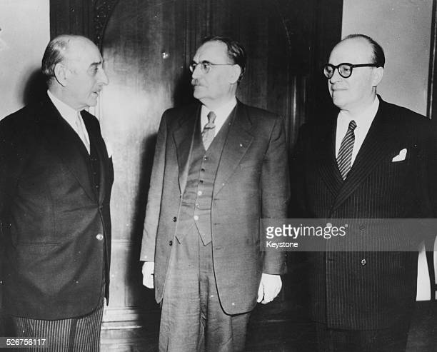 Greek Prime Minister Marshal Papagos Netherlands Prime Minister Willem Drees and Greek Ambassador to Holland M Stephanopoulos at a meeting in...