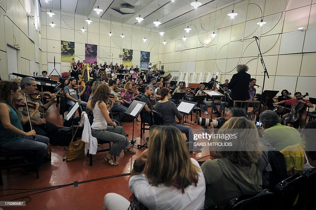 Greek public Radio and TV ERT's symphonic orchestra plays a