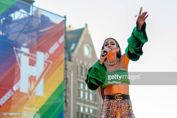 Greek recording artist actress dancer and fashion designer Eleni Foureira performs at Closing party of LGBT Pride in Amsterdam on August 5 2018