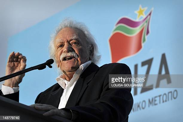 Greek resistance hero politician and writer Manolis Glezos addresses party's supporters during a preelection rally of the Left Coalition Party in...