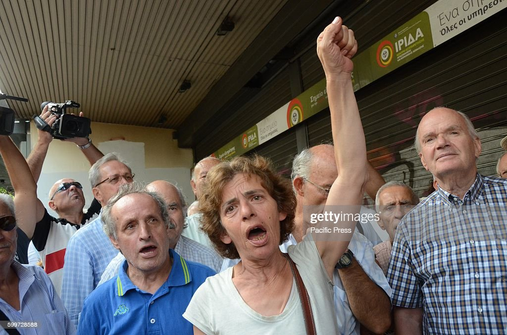 greek retirees demonstrate in front of the ministry of labor