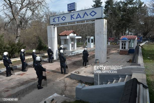 Greek riot police stand guard on the Greek side of the GreeceTurkey border near Kastanies on March 2 2020 Greece was on a state of alert on March 1...