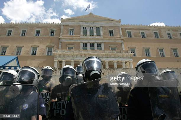 Greek riot police stand in formation at the Greek Parliament on May 20, 2010 in Athens, Greece. 25,000 people marched through central Athens to...