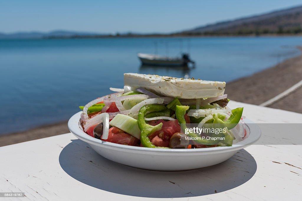 Greek Salad by the sea, Kalloni, Lesvos, Greece : Stock Photo
