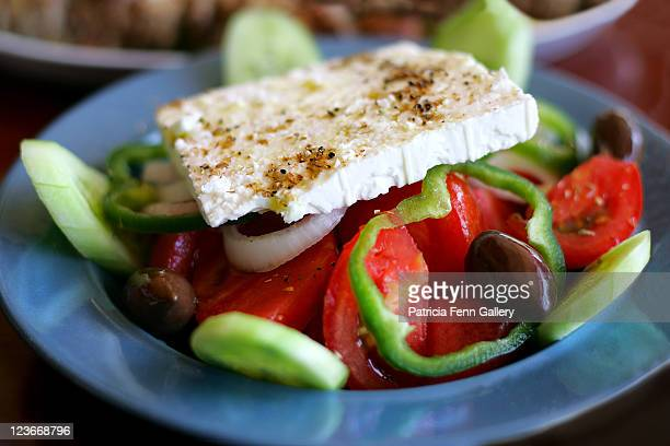 greek salad - herakleion stock photos and pictures