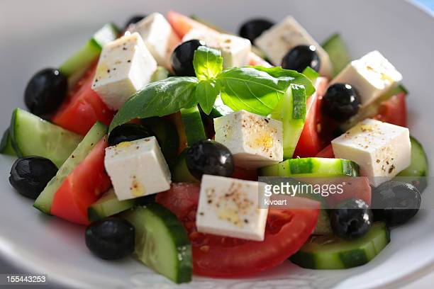 greek salad - feta cheese stock pictures, royalty-free photos & images