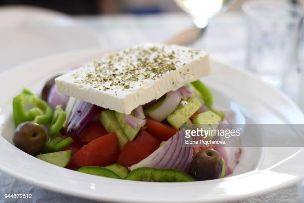 greek salad - epirus greece stock pictures, royalty-free photos & images