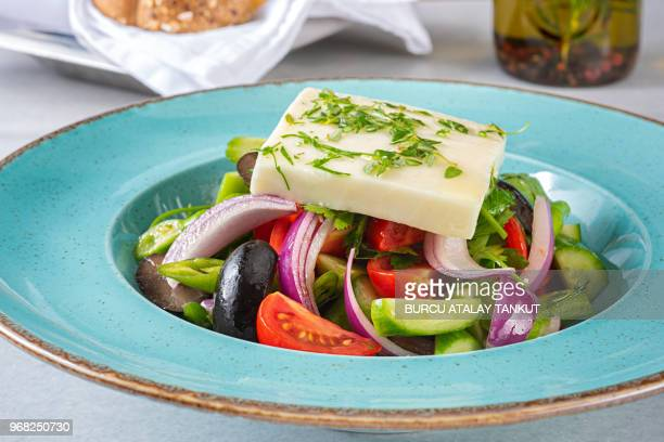 greek salad - kalamata olive stock photos and pictures